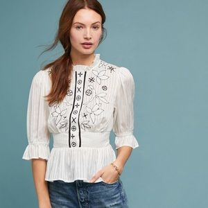 Anthropologie MMeila Embroidered Blouse Size 10